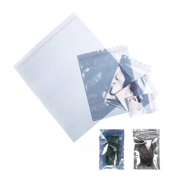 10pcs 5Sizes Anti-Static Shielding Bags ESD Antistatic Package Bag Zip Lock Zipper Pack Anti Static Storage Bags For Hard Drives