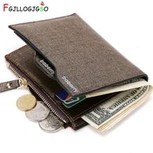 FGJLLOGJGSO Zipper Short Small Leather Men Wallets Designer Brand Luxury Male Purse Bifold Card Holder blue golden Money Bags