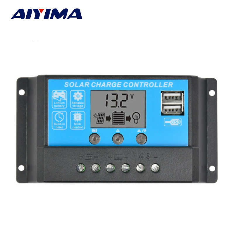 AIYIMA 15A 12V 24V Auto Solar Charge Controller Regulator Controller PWM With LCD 5V Dual USB For lead acid lithium battery