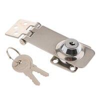 1 x Twist Knob Keyed Locking Hasp Safety Hasp Lock for Marine Boat Gate & Cabinets 3.1 x 1.2 inch (4)