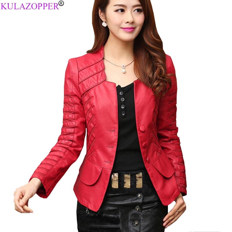 Autumn   Leather   Jacket Women Casual Long Sleeve Faux Short Coat Fashion Mosaic Plus Size PU Cheap Bomber Jacket Femininas ZS199