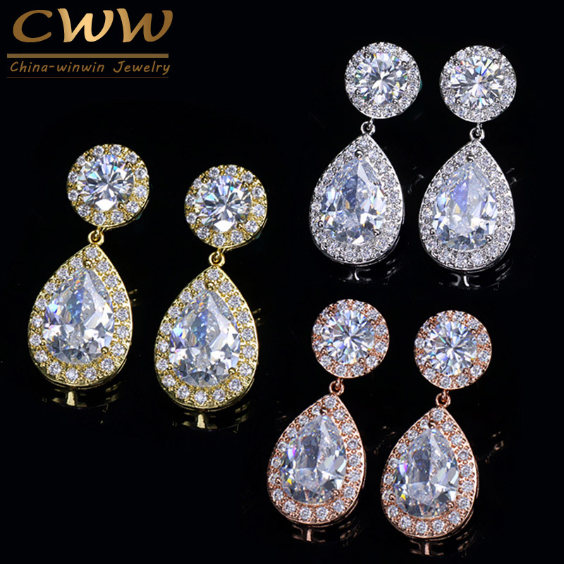 CWWZircons Classic Stunning Cubic Zirconia Stone Women Party Jewelry Rose Gold Color Big Pear Drop Earrings Gift CZ180