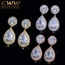 Cwwzircons clássico impressionante zircônia cúbica pedra feminino festa jóias rosa cor de ouro grande pêra gota brincos presente cz180