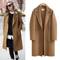 5XL Plus Size Wool Coat 2017 Autumn Winter Casual Long Coats Loose Thick Warm Outerwear With