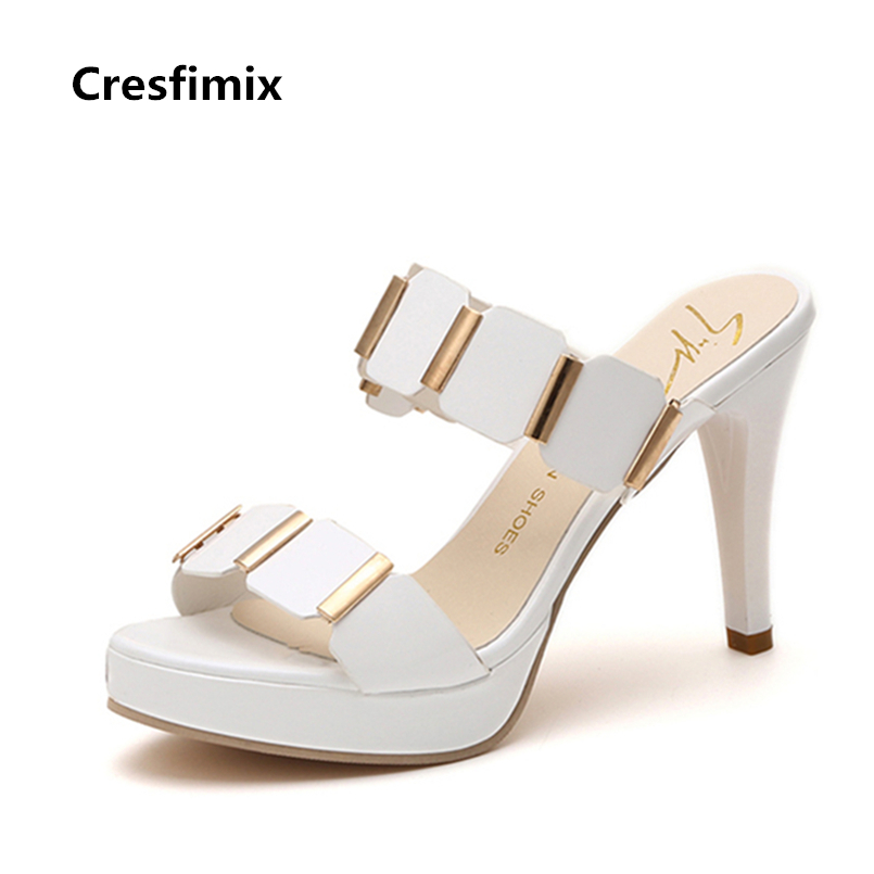 Cresfimix sandalias de mujer women cute 9cm high heel white sandals lady fashion pu leather black slip on sandals sexy sandals cresfimix sandalias de mujer women fashion black beach flat sandals lady cute solid comfortable plus size sandals with crystal