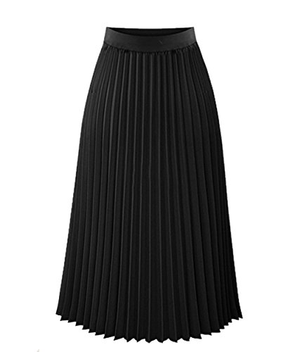 Women's High Waisted Elastic Ballet Pleated Chiffon Maxi Skirt Solid Color Beach Big Hem Skirts