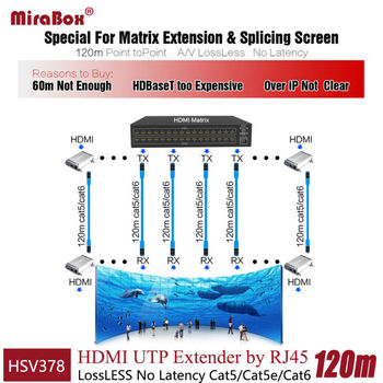 Hdmi To Cat5 | HSV378 1080P Lossless HDMI Extender Over Cat5/Cat5e/Cat6 No Delay Lossless HDMI Extender Support Up To 120m Transmitter Receiver