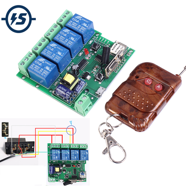 220V 4 Kanaals Wifi Relais Module Telefoon APP Draadloze Afstandsbediening WIFI Schakelaar Jog Self Lock Interlock + 433M Afstandsbediening