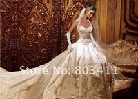 Free Shipping Sweetheart Neckline Gold Embroidered Cathedral Train Satin Wedding Dress
