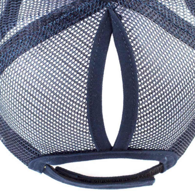 Berretto Da Baseball di modo Delle Donne Regolabile Coda di Cavallo Della Maglia Snapback cappello di Estate Unisex cappello per il sole per le donne bone Casquette Cap Hip Hop