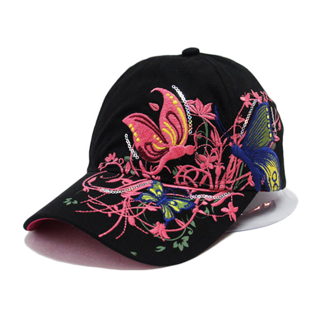LOVINGSHA Fashion spring and summer butterfly embroidery Colorful flower women's sun-shading Baseball Cap Women Hip Hop Hat B308