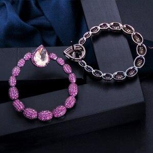 Image 4 - Cwwzircon микро паве горячий розовый фианит камень черный золотой большой круглый Висячие серьги для женщин брендовые ювелирные изделия CZ563