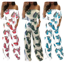 S-2XL women full length pant slash neck jumpsuit lady floral print ruffles spring autumn casual leisure brand