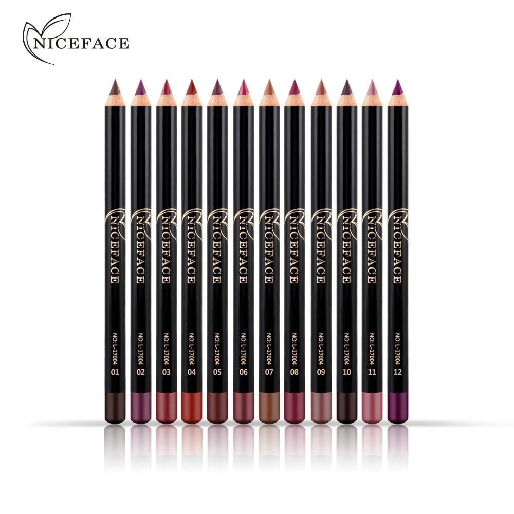 NICEFACE Brand Lip Makeup Pencils 1pcs Long Lasting Cheap Pigments Red Brown Purple Waterproof Matte Lip Liner Makeup Kits