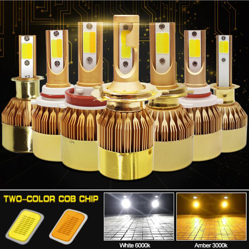 1 Set 2 Pieces C6 H7 LED Bulb H4 LED Lamp Double Color LED Car Headlight White And Beam Yellow Headlight Hi / Lo H1 H11 H3 H9 HB
