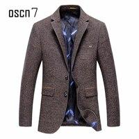 OSCN7 moda chaqueta marrón slim fit Leisure hombre chaqueta de moda más tamaño casual blazer hombre