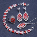 Red Garnet White Created Topaz Sterling Silver Jewelry Sets For Women Bracelet/Earrings/Pendant/Necklace/Rings Free Gift Box