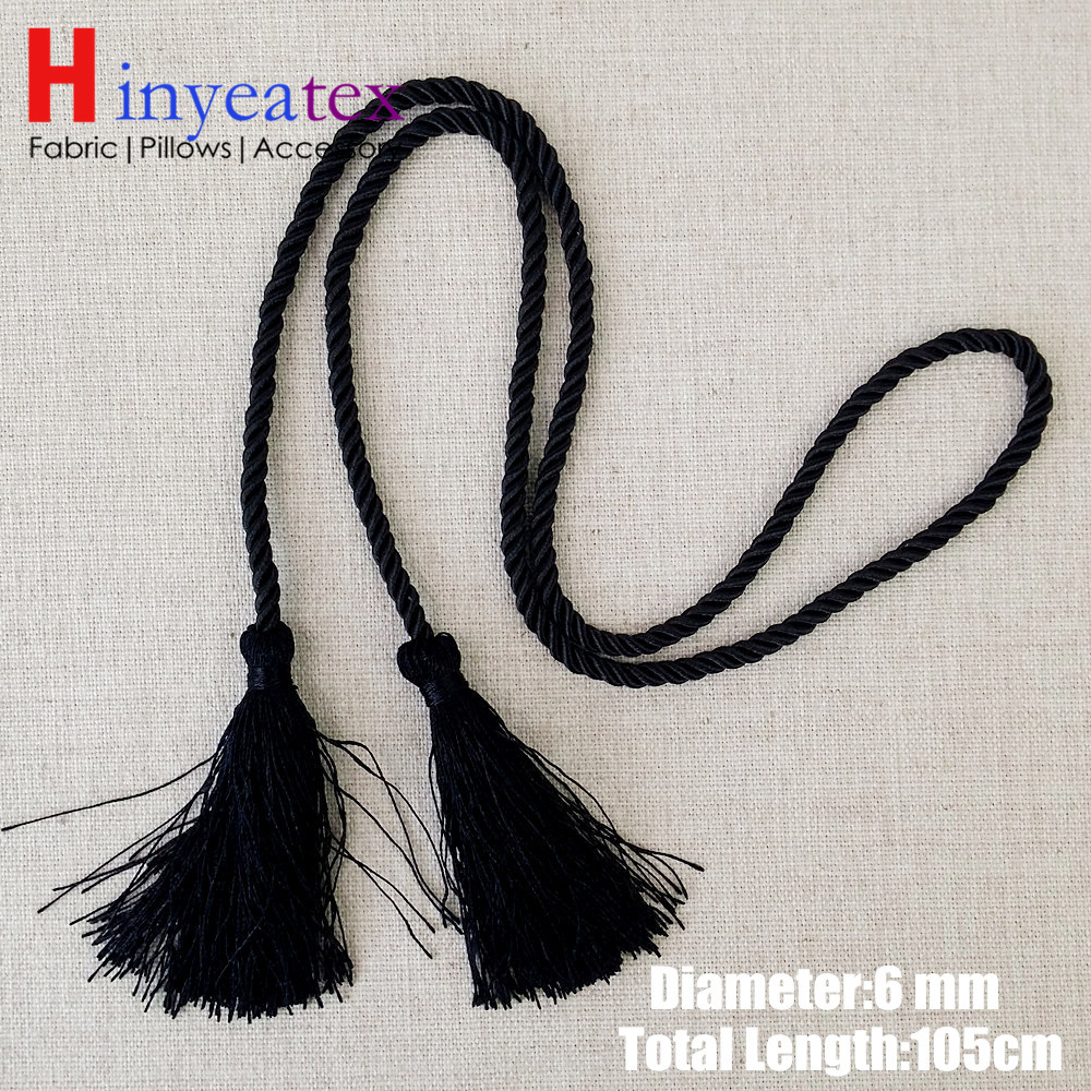Black Rope with Tassels Gift Package Twisted Cords Wine Jars Rope 160 cm 115 cm Length 6 mm Sell by 10 pcs per bale