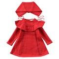 QUIKGROW 3-4 Anos de Criança Crianças Camisola Crianças Vestido Exclusivo Decote Red & White Girl Roupas De Malha com Correspondência chapéu FE09MY