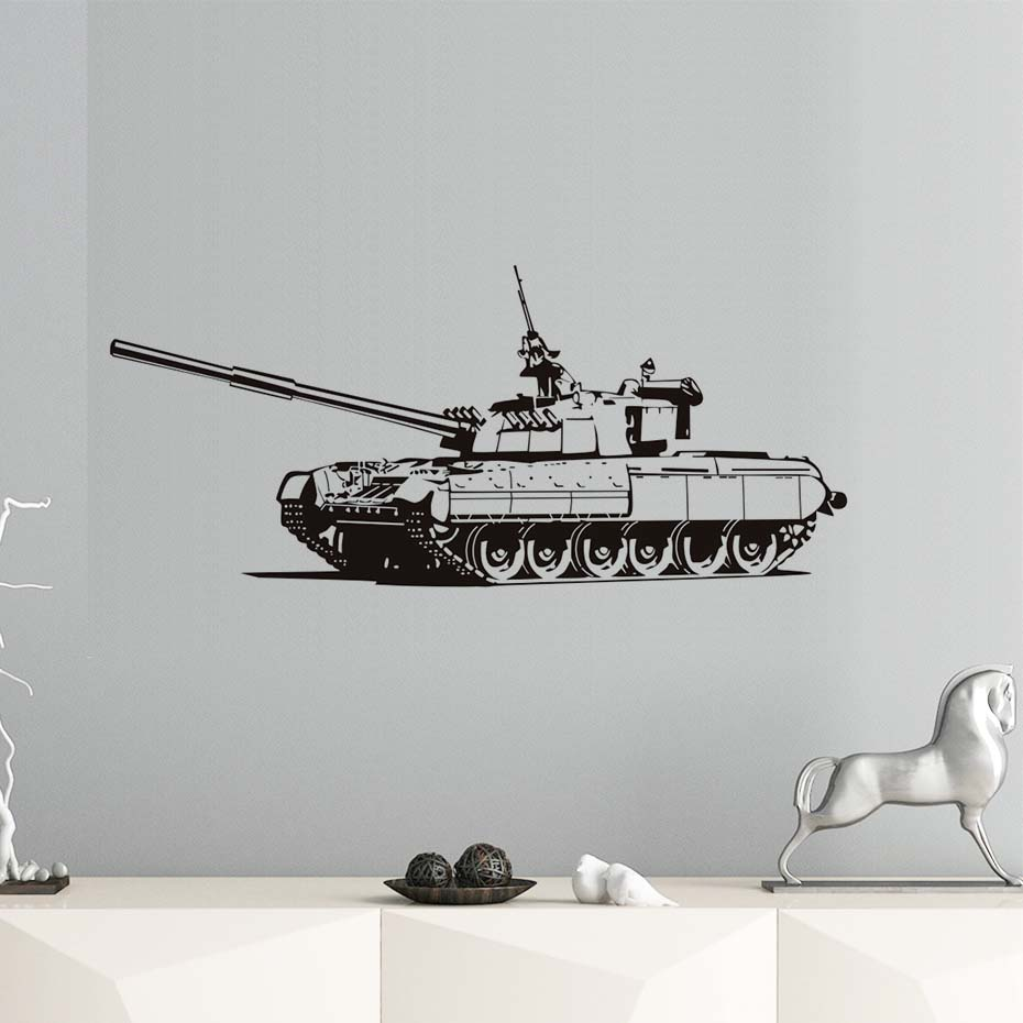 Military Heavy Tank Wall Sticker 3d Hollow Out Removable Vinyl Art Silhouette Wallpaper Home Decor Kids Room Decoration