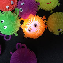 24pcs/lot led toys New funny light up toys soft rubber glowing bouncy balls flash luminous smile maomao ball for party supplies