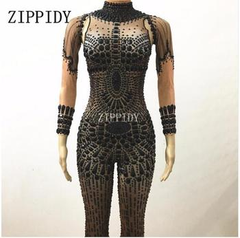 Fashion Black Rhinestones Stage Performance Outfit Party Celebrate Glisten Crystals Costume Stretch Bodysuit