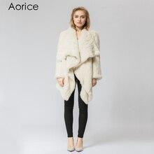 CR060-4 Knitted knit real rabbit fur coat overcoat jacket Russian women's winter thick warm genuine fur coat