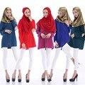 2016 Promoción Limitada Adultos Moda Abaya Abaya Islámico Musulmán Árabe de manga Larga Tops Camisa de costura Femenina W629