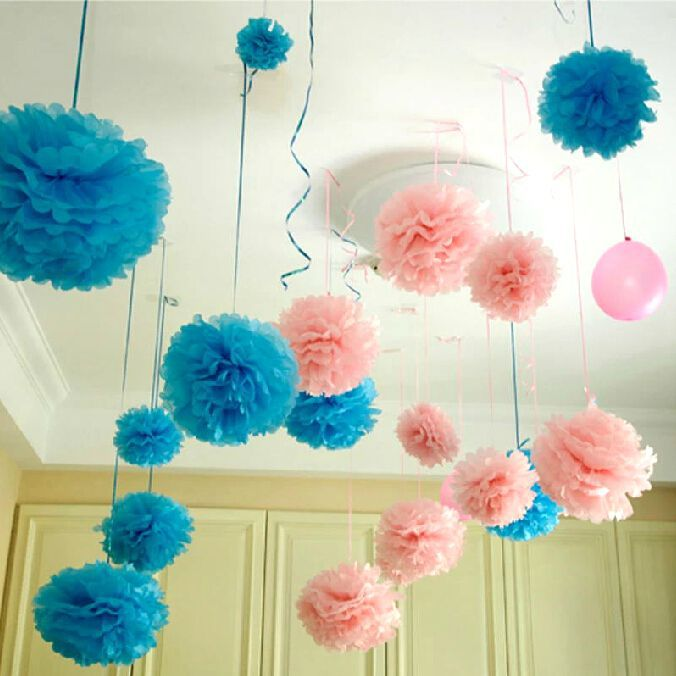 crepe flor de papel bolas guirnalda unids tamaos cm cm cm tissue paper pom poms decoracin mariage festival del banquete de boda en