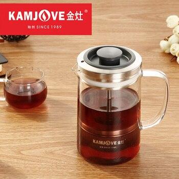 Kamjove méthode pot de pression cafetière pu'er thé art pot français presses théière en verre résistant à la chaleur service à thé
