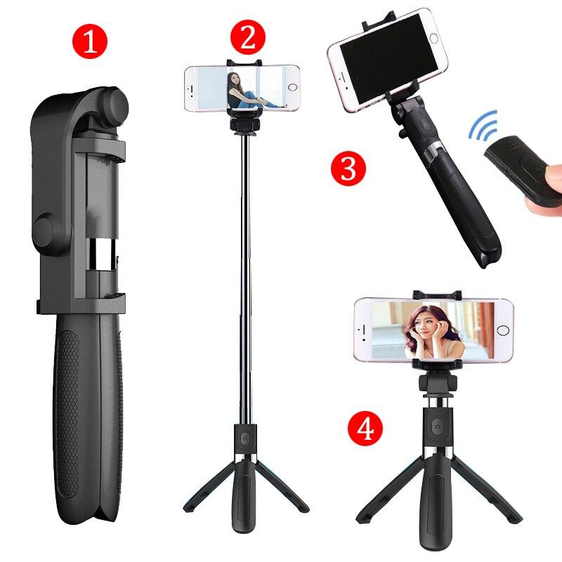 Bastone Selfie Treppiede Con Bluetooth Remote Control per il iphone il Treppiedi per il Telefono Gopro Macchina Fotografica di Sport Luce Monopiede con la Clip