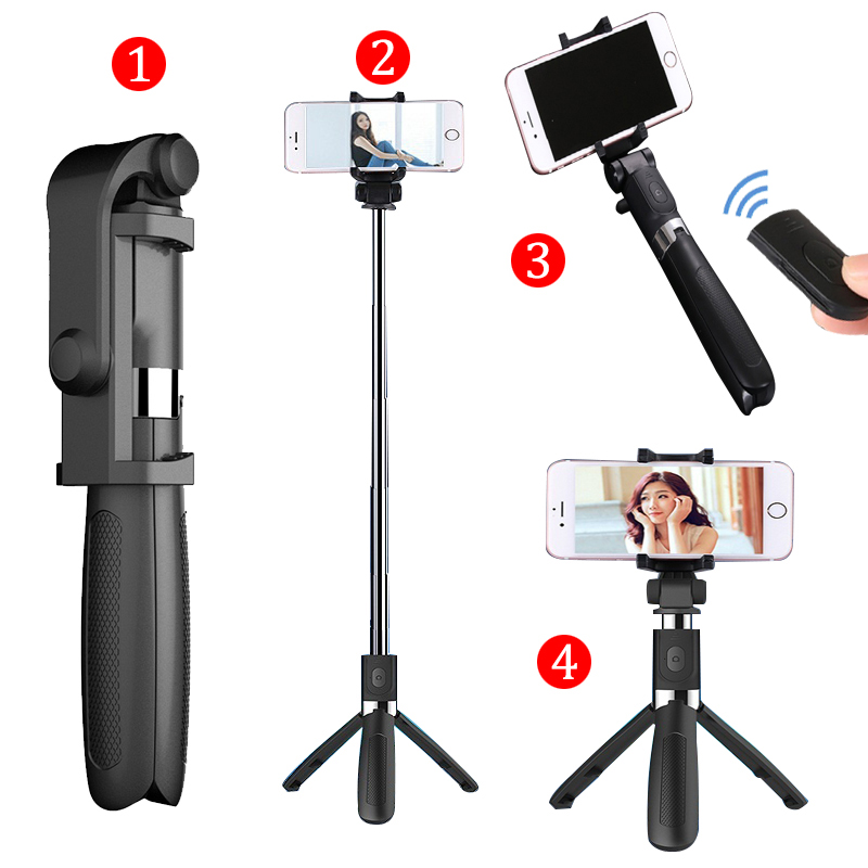 Selfie Stick Tripod With Bluetooth Remote Control for iPhone Tripod for Phone Gopro Sport Camera Light Monopod with Clip oem selfie app iphone samsung gopro for phone and camera