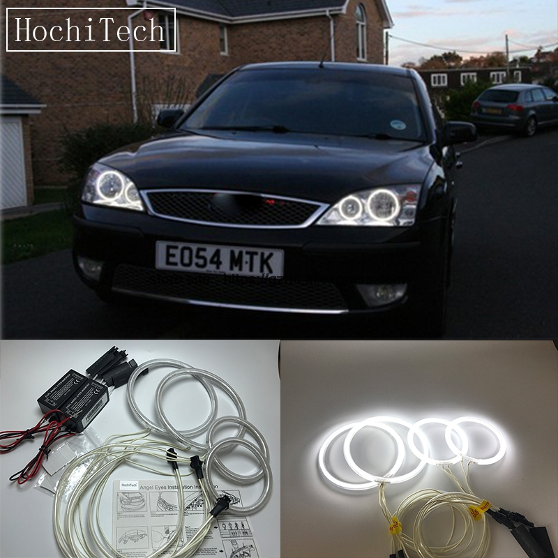 HochiTech For Ford Mondeo MK3 2001-2007 Ultra Bright Day Light DRL CCFL Angel Eyes Demon Eyes Kit Warm White Halo Ring zоом 3 day white with acp excel 3