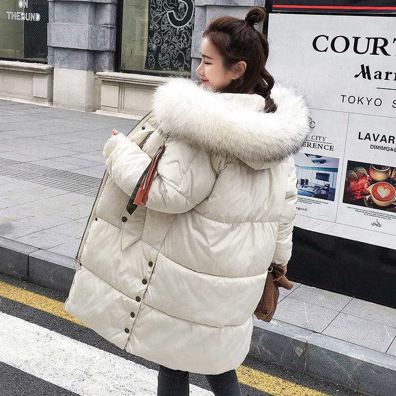 65d42ba16 New Fashion Plus Size Loose Solid Big Fur Collar Women Winter Coat ...