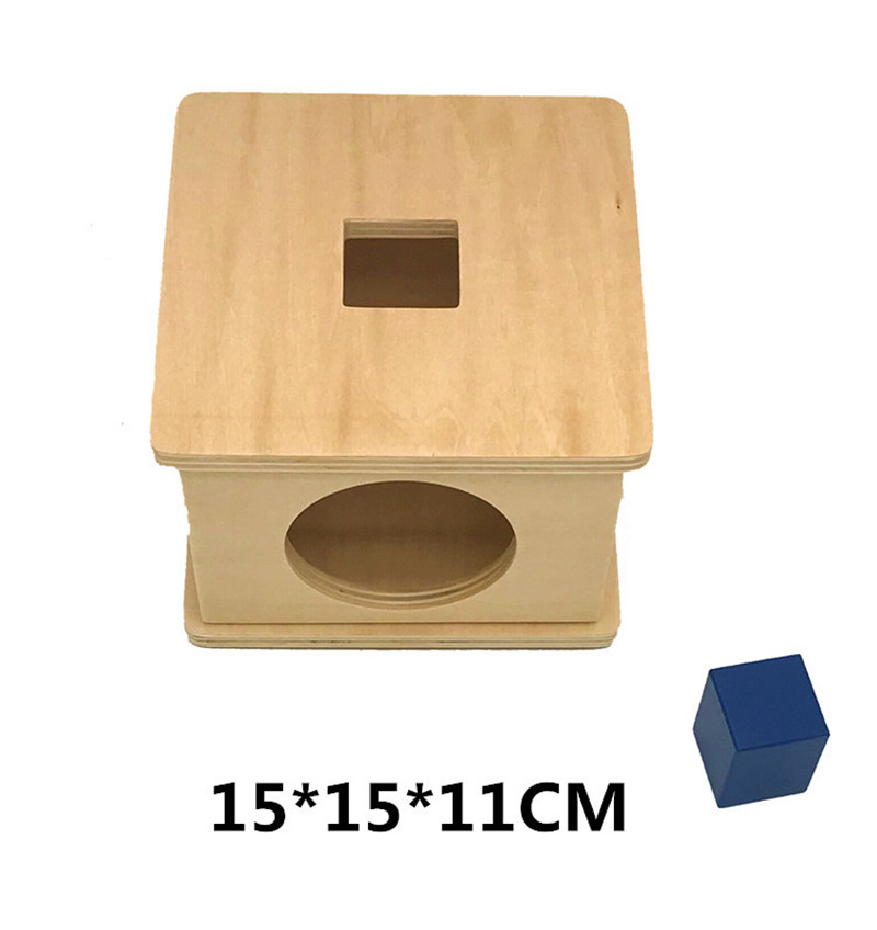 New wooden Baby Toy Montessori Wood Square Blocks  Matching Box Learning Educational Baby Gifts