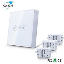 Wireless touch schalter 3 Gang 3 Way Smart Home 220 v Home Lichtschalter lange fernbedienung Wandschalter Freies verschiffen