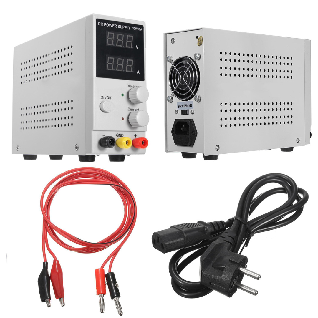 Dual Digital Display DC Power Supply Adjustable Switching Regulated 30V 10A with Power/Output Line Mayitr diy kit dc dc adjustable step down regulated power supply module belt voltmeter ammeter dual display