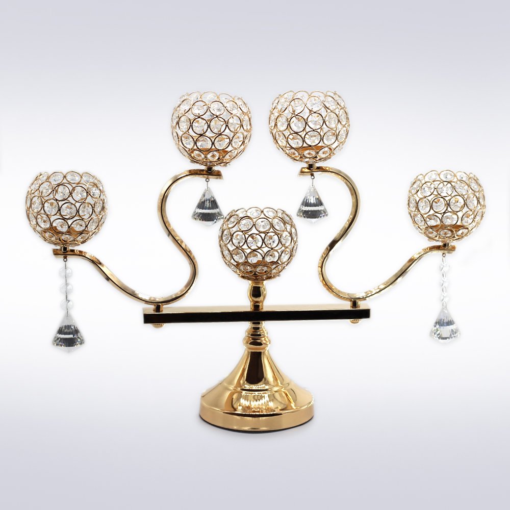 Cristal Bougeoir En M Tal Or Bougie Stand Chandelier
