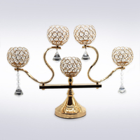Crystal Candle Holder metal gold candle stand candlestick moroccan lanterns tea light candelabra centerpieces wedding decoration