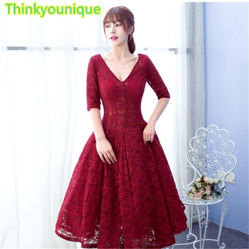 Short   Cocktail     dresses   2017 V neck lace   cocktail   robe de soiree longue vestido de festa longo A line   Dresses   TK045