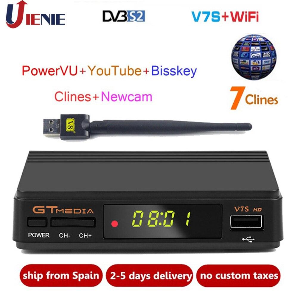 New GTmedia v7 Upgrade Digital Satellite TV receiver with 1 Year Europe clines Decoder TV Box