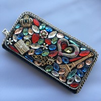 2018 Rushed Top Letter Polyester Women Color Sticky Diamond Ladies Wallet Long Hand Holding Coin Cardholder Multi functional