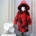 Hoodies de las muchachas rojo Camuflaje niños faux fleece tops otoño invierno niños ropa de calle 2016 de espesor caliente