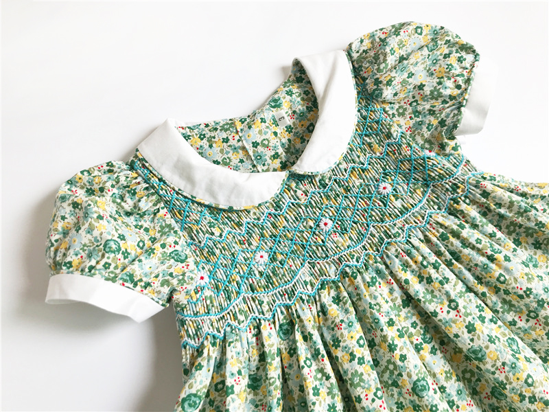 2019 nouveau été espagne enfants smocks robe pour filles enfant en bas âge bébé sans manches princesse robes florales avec des vêtements de fête arc