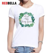 REDBELLA 2017 Autumn Women T-shirt Green Vegan Circular Pattern Letter Corn Printing Cotton Casual Femme Clothing Short Sleeve