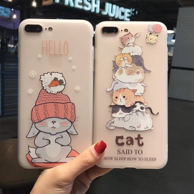 Kuutti Squishy Women Kawaii Cat Rabbit Transparent 3D Relief Silicone  Cartoon Phone Case for iPhone 6 7 8 Plus X Mobile Covers 9faf64729