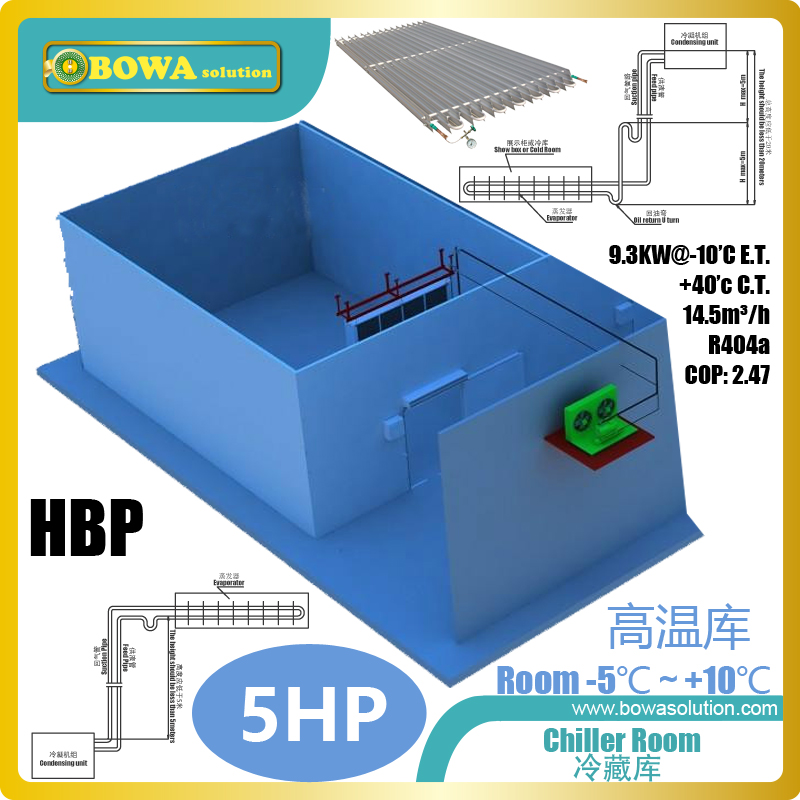 5HP HBP refrigeration plant can chill 3Tons fruits/vegetables from 25'C to 0'C every 8 hours, excellent for Medical cold storage цена