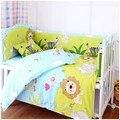 100% cortina de algodão berço cama leão adesivos bebê berço conjuntos ( bumper + edredon + colchão + travesseiro )