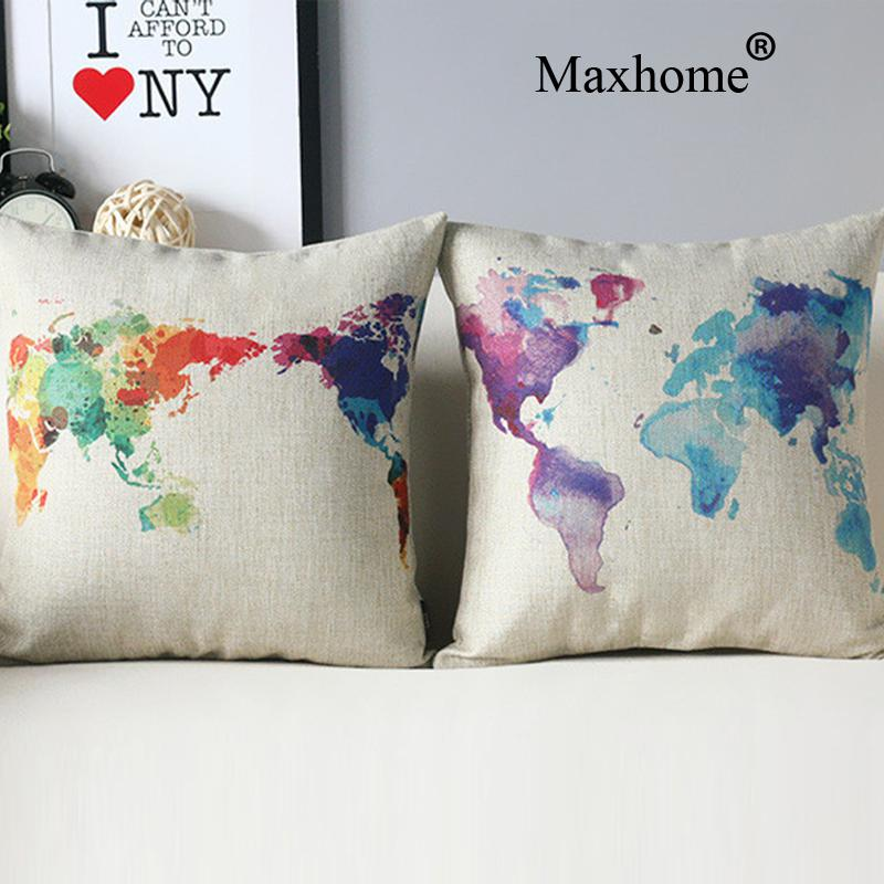 Nordic World Map Printed Pillowcase Creative Travel Blue Cushion Decorative Pillow Home Decor  Throw Pillow Cushion 45*45