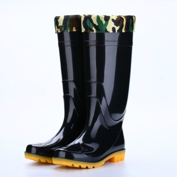 High-top rain boots Men's black high-tube warm non-slip wear-resistant site labor insurance plastic shoes Rain boots
